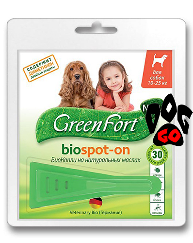 Капли на холку от блох для собак 10-25 кг Green Fort Биокапли c диметиконом 1,5 мл