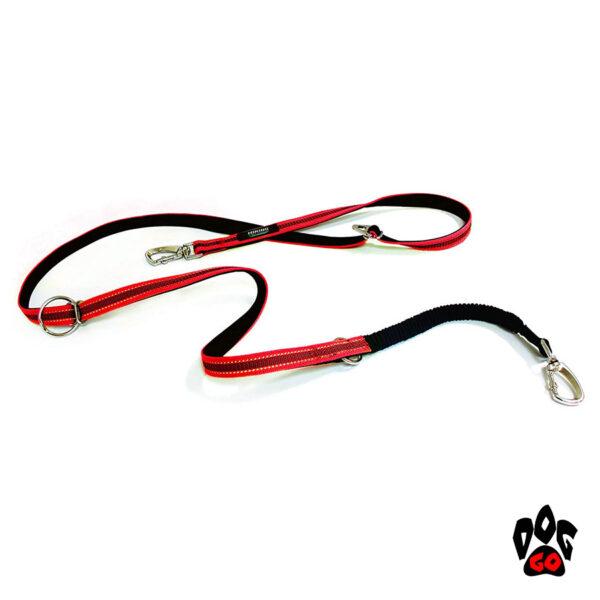 Поводок для дрессировки собак CROCI HIKING ANTISHOCK VENTURE (напоясный или наплечный), прорезиненный нейлон, 2.5см х 200см, красный