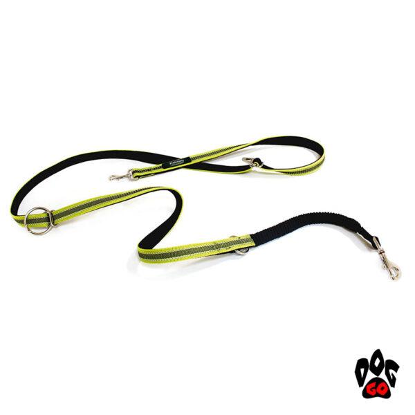 Поводок для дрессировки собак CROCI HIKING ANTISHOCK VENTURE (напоясный или наплечный), прорезиненный нейлон, 2.5см х 200см, салатовый