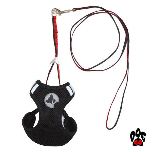 Шлея для собак CROCI HIKING PARURE (перфорированный нейлон) + поводок, черный