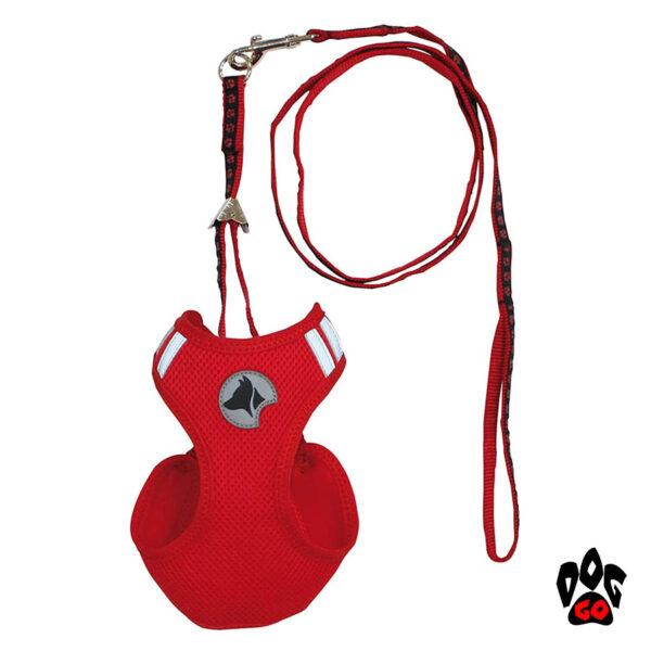 Шлея для собак CROCI HIKING PARURE (перфорированный нейлон) + поводок, красный