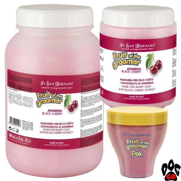 """Маска IV SAN BERNARD """"Black Cherry"""" для короткой шерсти, с протеинами шелка и черной вишней (250 мл, 1000 мл, 3000 мл)"""