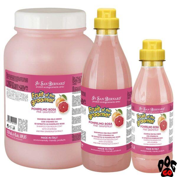 Шампунь для собак профессиональный IV SAN BERNARD Pink Grapefruit для средней шерсти, с грейпфрутом и Витамином В6 (500 мл, 1000 мл, 3250 мл)