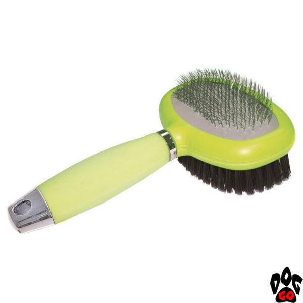 """CROCI Пуходерка-щетка для собак """"Glam Gel"""" 2 в 1, с силиконовой ручкой, 13х14.5 см"""