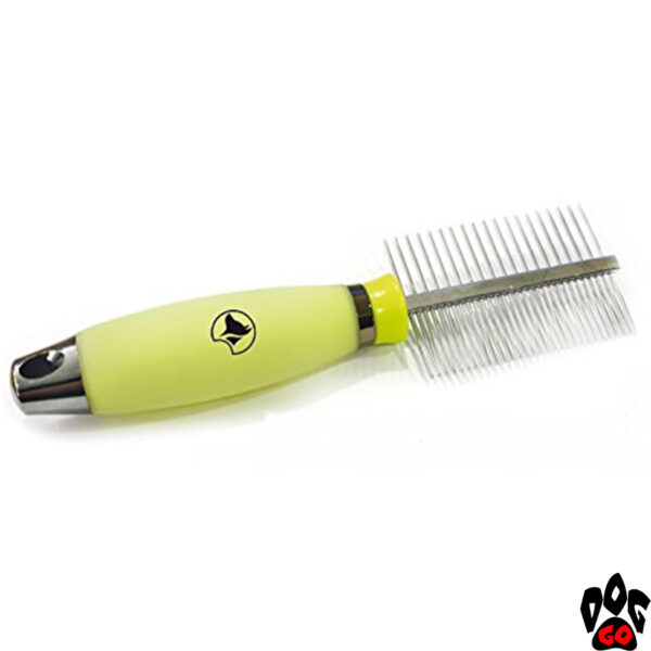 """Двухсторонняя расчёска для собак CROCI """"Glam Gel"""" 2 в 1 (густой и редкий зуб), силиконовая ручка, 7.7х17.3 см"""
