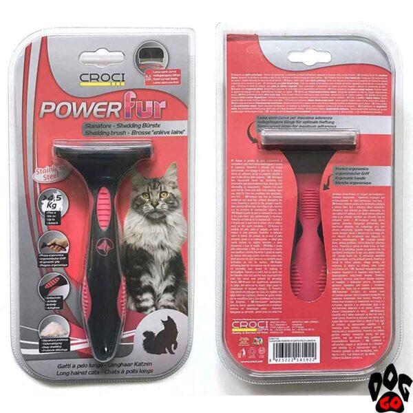 """Фурминатор для длинношёрстных котов CROCI """"POWERfur"""", М (более 4.5 кг) 6.5 см"""
