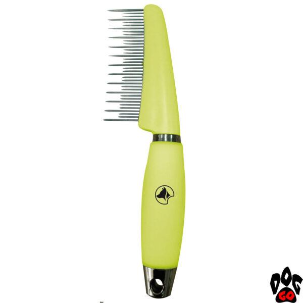 """Расчёска для вычёсывания шерсти разной длины у собак и кошек CROCI """"Glam Gel"""", с силиконовой ручкой 7.7х17.3 см"""