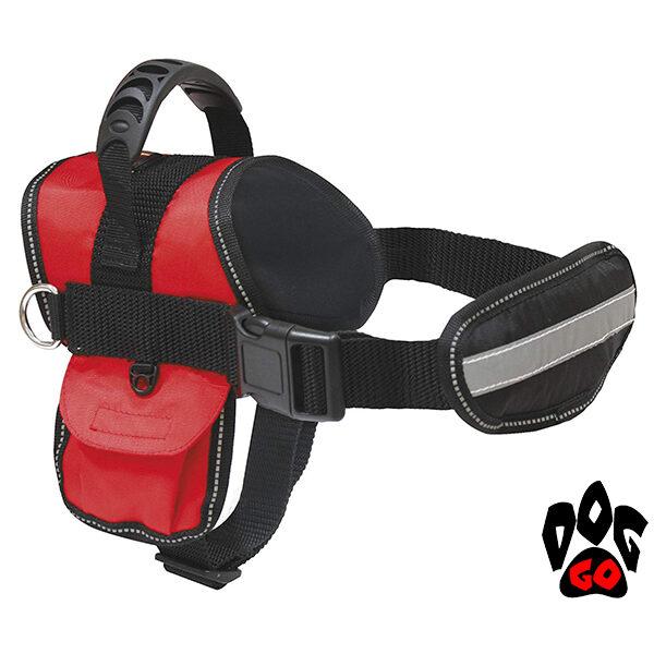 Шлея для собак крупных пород, таксы, стаффа, немецкой овчарки и маленькой собаки CROCI HIKING SWAT (с карманом) + поводок в комплекте, красная