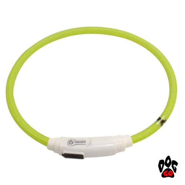 Светящийся ошейник для кошек и мелких пород собак (USB, LED) CROCI, нейлон, 40см, салатовый