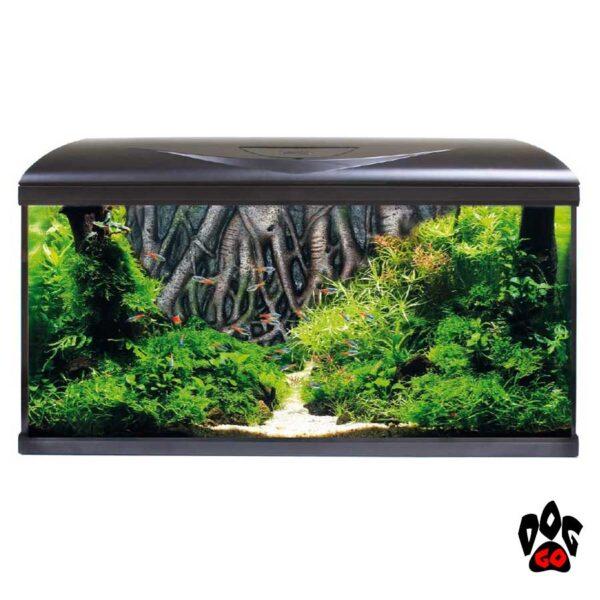 Аквариум AMTRA SYSTEM 80 LED BLACK на 85 литров (фильтр, помпа 520л.ч, нагр-ль 100Вт, LED, фон корни)