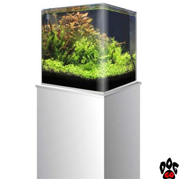 Морской нано-аквариум на 90 литров AMTRA NANOTANK, панорамный (45x45x45 см), с крышкой, стекло 6 мм, на тумбочке