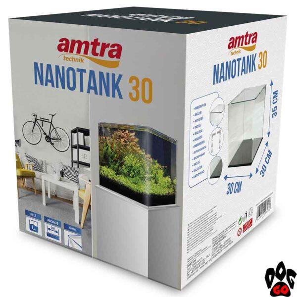 Панорамный аквариум AMTRA NANOTANK 20 на 18 литров (25x25x30 см), стекло 5 мм - 2