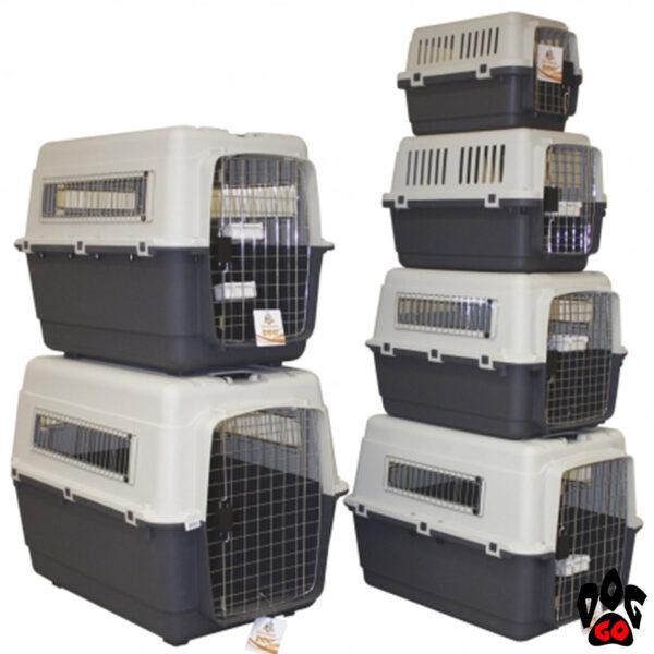 Лицензированный контейнер для транспортировки животного CROCI Vagabond, колеса+2 поилки (XS, S, M, L, XL, 2XL)