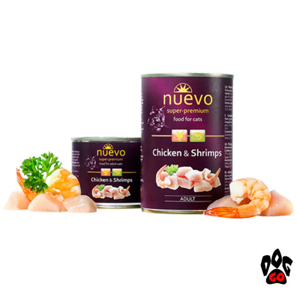 Консервы для кошек NUEVO ADULT с курицей и креветками, 400 г
