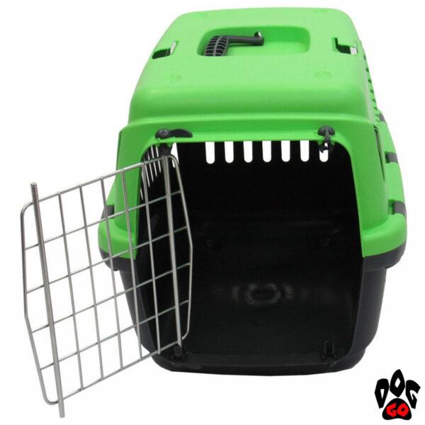 Контейнер-переноска MP BERGAMO GIPSY 44x29x30 и 58х38х38 см, с металлической дверцей (вес животных 6 и 10 кг) Зеленый