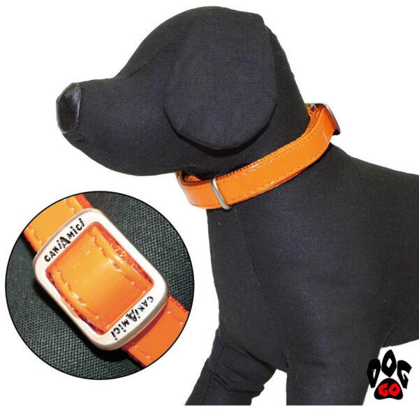 Лакированный ошейник для собак CROCI MYLORD из искусственной кожи с нейлоном, оранжевый