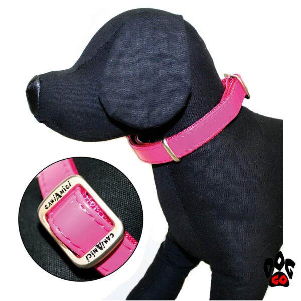 Лакированный ошейник для собак CROCI MYLORD из искусственной кожи с нейлоном, розовый