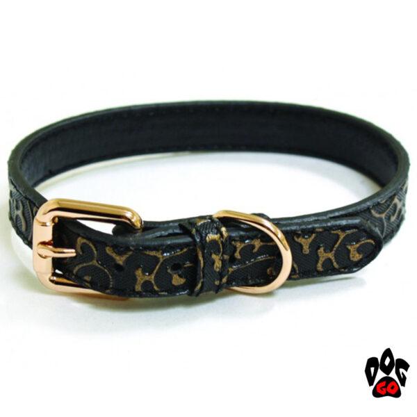 Ошейник CROCI для собак KALIKA DECO из искусственной кожи, чёрный с золотистым