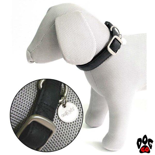 Ошейник для собак CROCI MYLORD из кожзама, регулируемый, с тиснением, черный