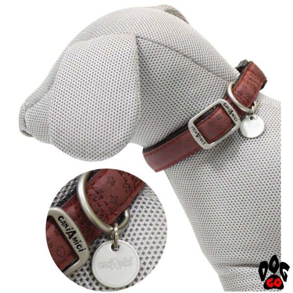 Ошейник для собак CROCI MYLORD из кожзама, регулируемый, с тиснением, бордовый