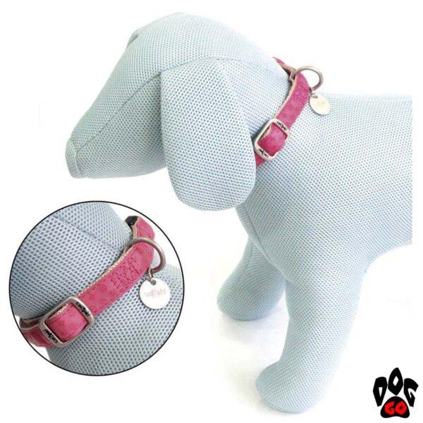 Ошейник для собак CROCI MYLORD из кожзама, регулируемый, с тиснением, розовый