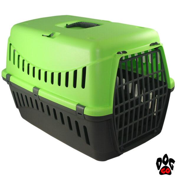 Переноска GIPSY 1, 2 (S, L) пластиковая с пластиковой дверцей BERGAMO (44x28,5x29,5 и 58х38х38 см), вес животного 6, 10 кг (зеленый)