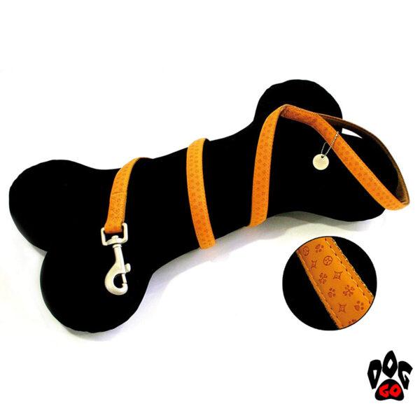Поводок для собак CROCI MYLORD из кожзама с тиснением 1.2 метра, оранжевый