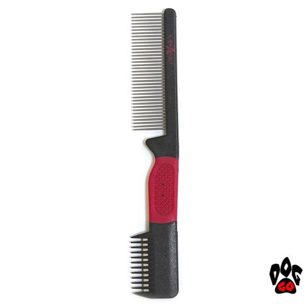 Расчёска для вычёсывания шерсти разной длины у собак и кошек (Стриппер) Croci KAMM VANITY 2 в 1, густой зуб + тример, 3х19см