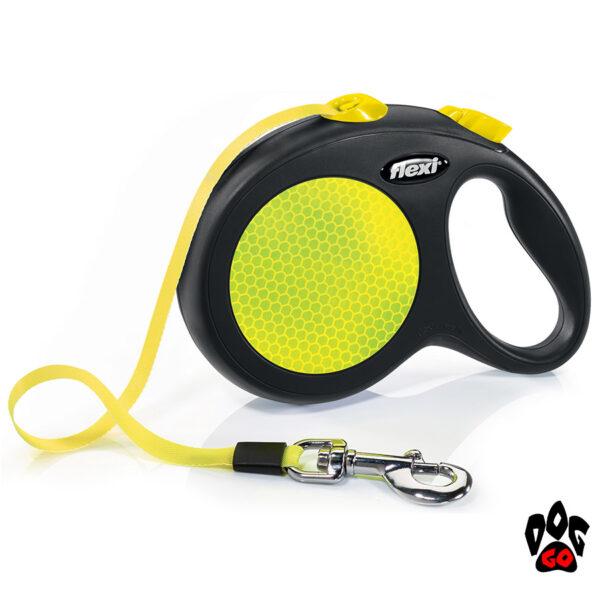 Рулетка FLEXI Neon L, 5м, до 50кг, лента, черный с желтым