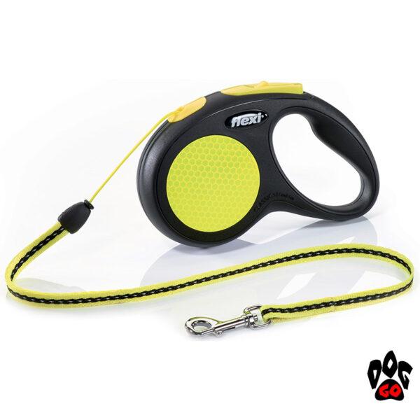 Рулетка FLEXI Neon S, 5 метров, до 12 кг, шнур, черный с желтым