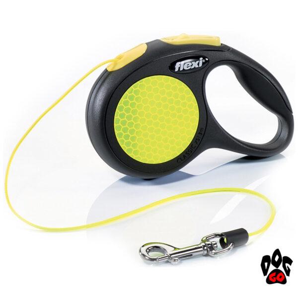 Рулетка FLEXI Neon XS, 3 метра, до 8 кг, шнур, черный с желтым