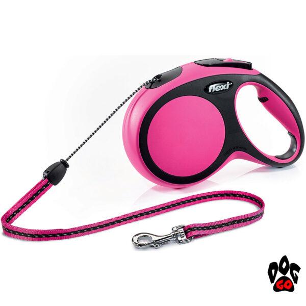 Рулетка FLEXI New Comfort М, 5 метров, до 20 кг, шнур, розовый