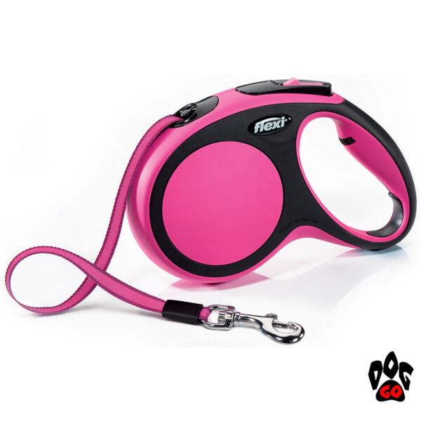 Рулетка FLEXI New Comfort М, 5 метров, до 25 кг, лента, розовый