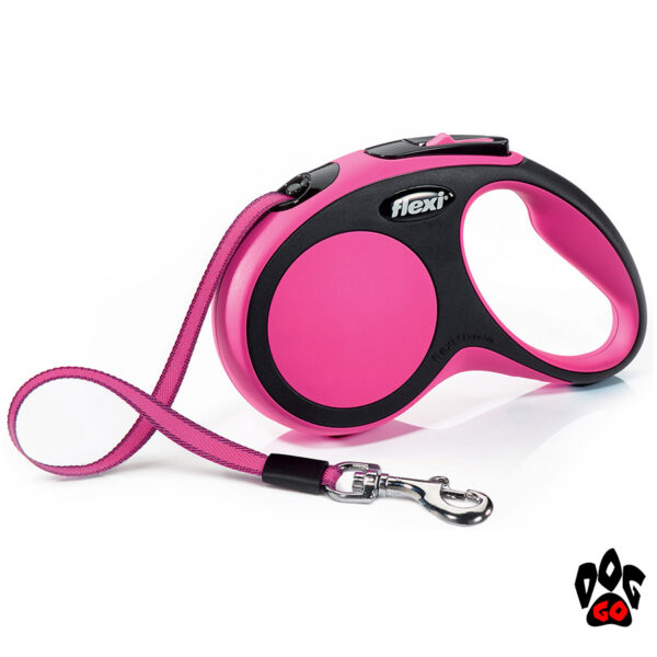 Рулетка FLEXI New Comfort S, 5 метров, до 15 кг, лента, розовый