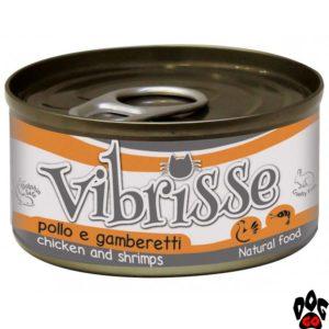 ВИБРИСС (VIBRISSE) Конcервы для кошек с курицей и креветками, 70 г
