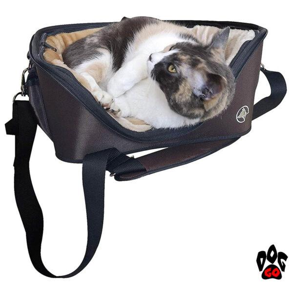 Сумка-лежак CROCI для животного Fast&Easy, удобно для выставок, корчневый/беж, 49х40х35см, до 15кг - 2