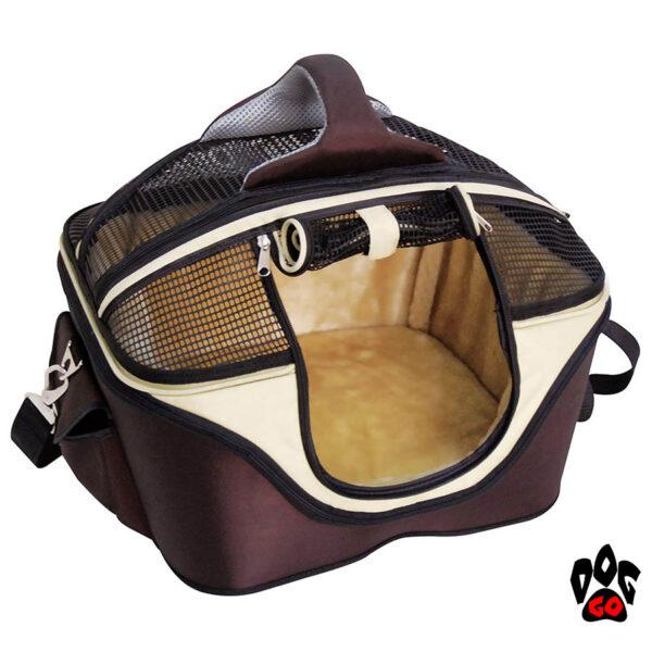 Сумка-лежак CROCI для животного Fast&Easy, удобно для выставок, корчневый/беж, 49х40х35см, до 15кг