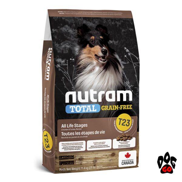 Беззерновой корм холистик NUTRAM T23 для собак и щенков, с индейкой и курицей 2 кг