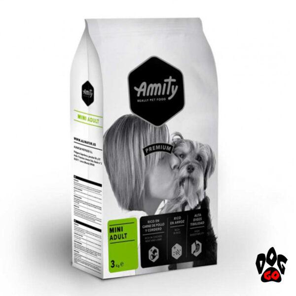 Корм AMITY для собак Mini Adult, для мелких пород, с курицей и ягненком, 3 кг