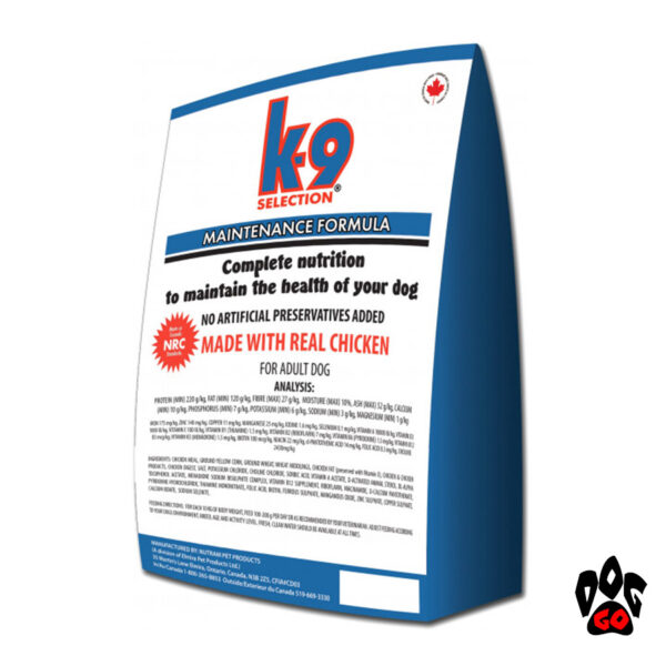 Корм K9 для собак средних пород Selection Maintenance Formula с курицей, 12 кг