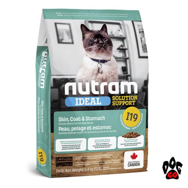 Корм для кошек для улучшения пищеварения Nutram Ideal I19 с курицей и лососем 5.4 кг