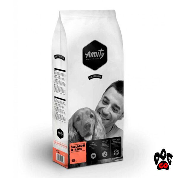 Корм для собак гипоаллергенный AMITY Salmon&Rice, с лососем и рисом, 15 кг