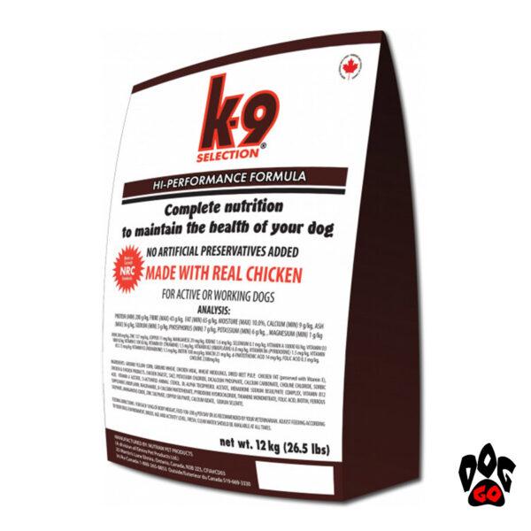 Корм для собак К9 Selection HI-Performance Formula (усиленный) с курицей, 20 кг
