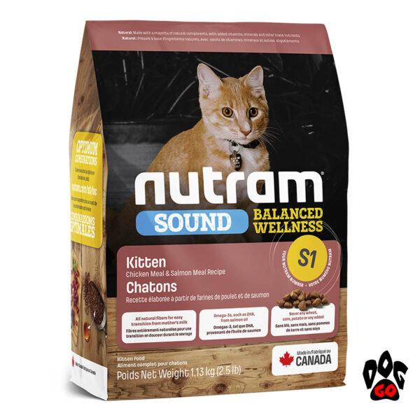 Нутрам для котят NUTRAM Sound S1, холистик корм Курица с лососем 20 кг