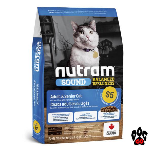 NUTRAM S5 Корм для кошек Sound Balanced Wellness с курицей и лососем 5.4 кг