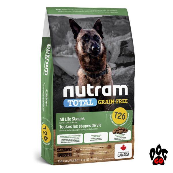 NUTRAM T26 Беззерновой корм холистик для собак и щенков, с ягнёнком и чечевицей 20 кг
