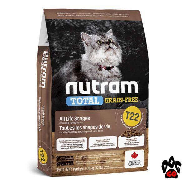 NUTRAM Total Grain Free T22 для кошек, холистик, беззерновой корм с индейкой и курицей 1.13 кг