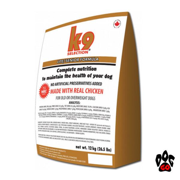Сухой корм для собак при ожирении K9 Selection Lite/Senior Formula с курицей, 12 кг