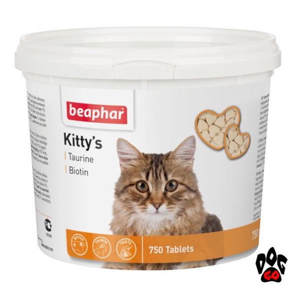 Витамины для кошек с таурином и биотином BEAPHAR Kitty's Taurin + Biotin, 750 табл.