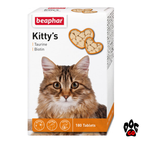 Витамины для кошек с таурином и биотином BEAPHAR Kitty's Taurine + Biotin, 180 табл.